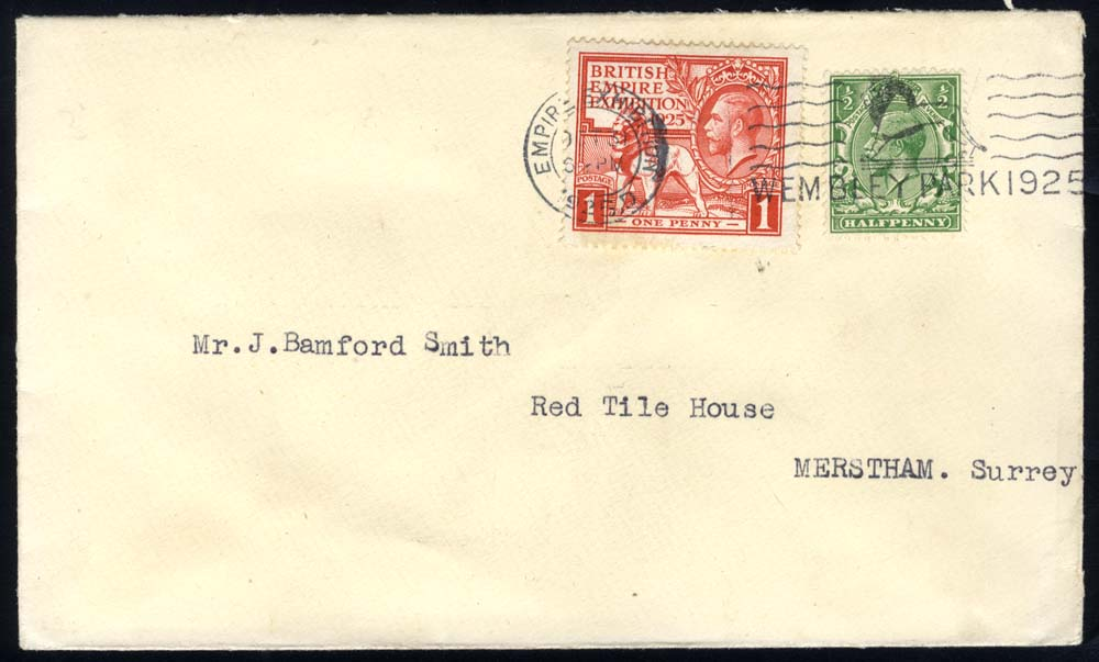 1925 Wembley 1d + ½d defin together on cover to Merstham, Surrey