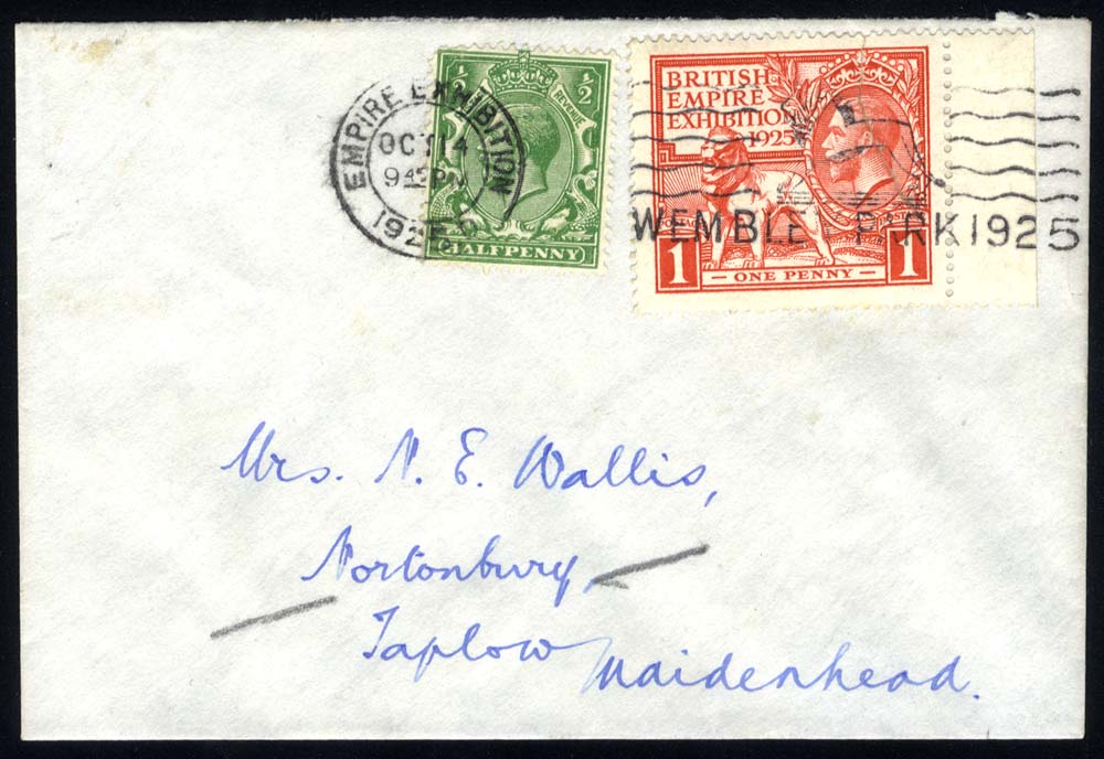 1925 Wembley 1d marginal example on a cover together with ½d defin to Maidenhead