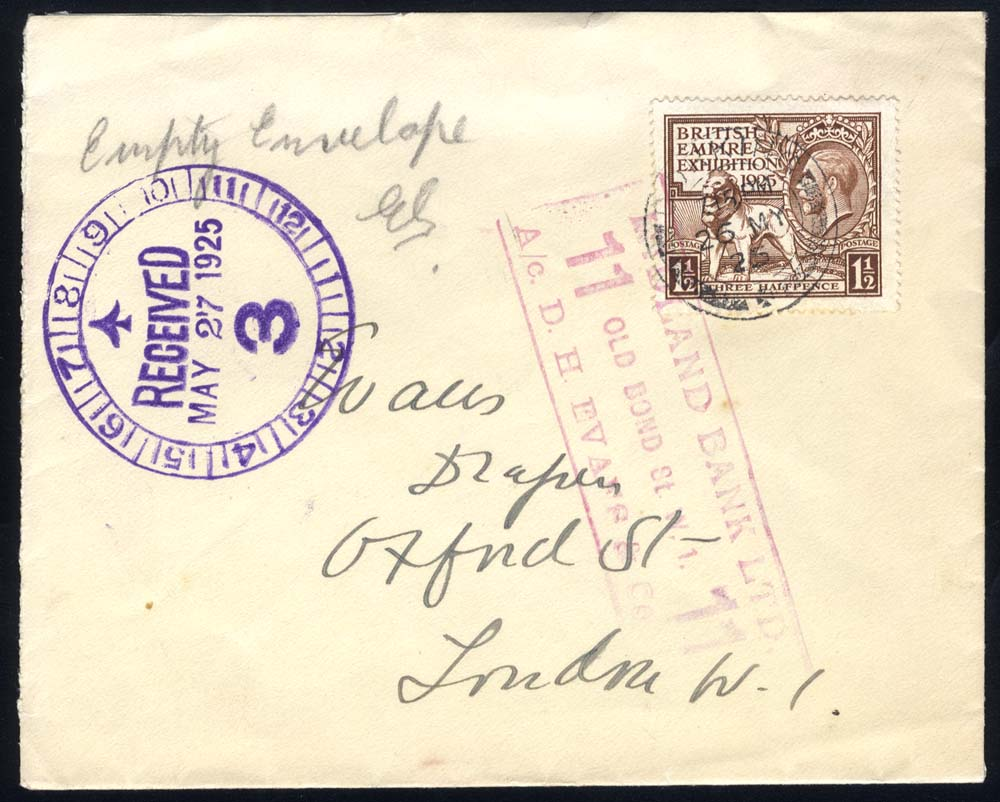 1925 Wembley 1½d stamp on a local London cover tied c.d.s, and Midland Bank boxed h/stamp and alongside receiving TIME mark in violet.