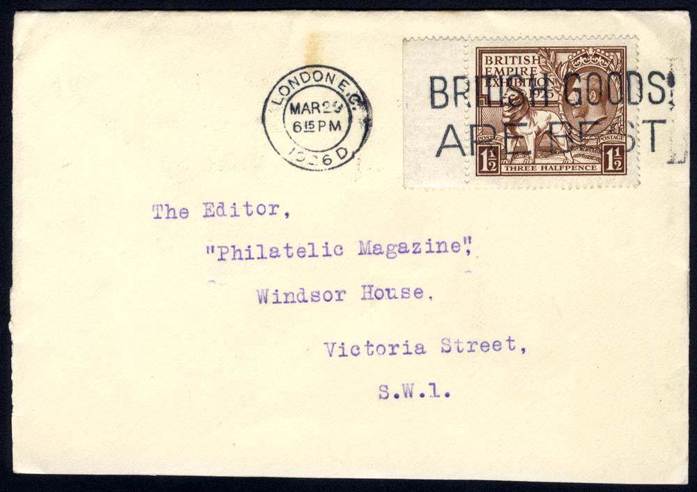 1925 Wembley 1½d marginal single on a local London cover
