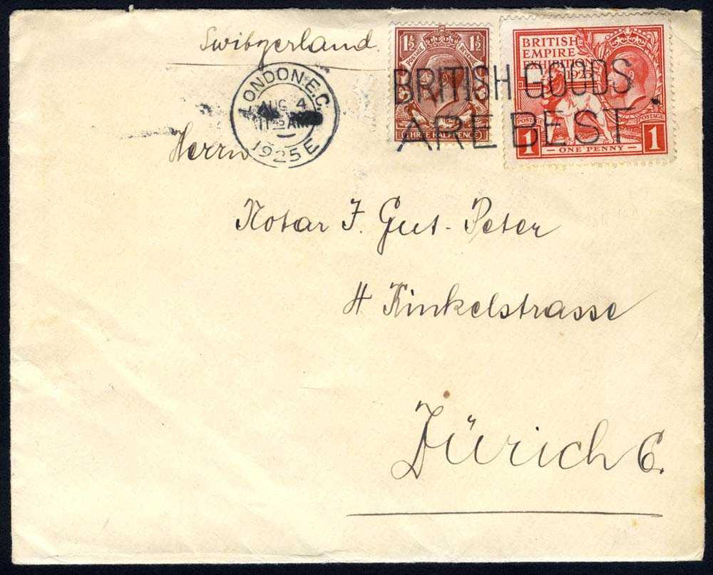 1925 Wembley 1d Exhibition stamp + 1½d KGV defin together on an envelope to Switzerland