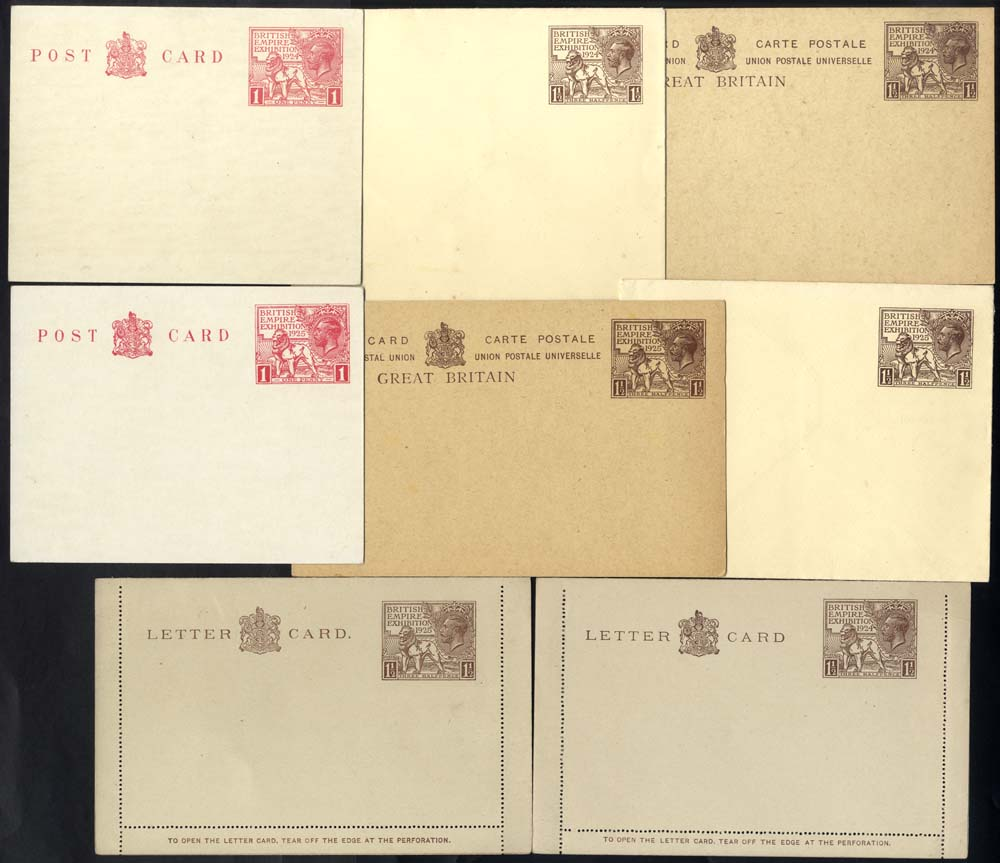 1924/25 Wembley stationery postcards, envelopes & letter cards, a complete set of eight