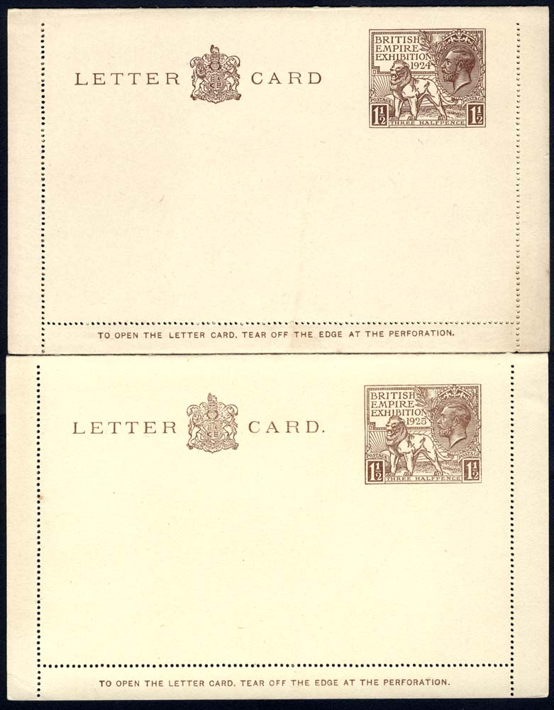 1924 & 1925 British Empire Exhibition Wembley 1½d letter cards of exact year, fresh unused
