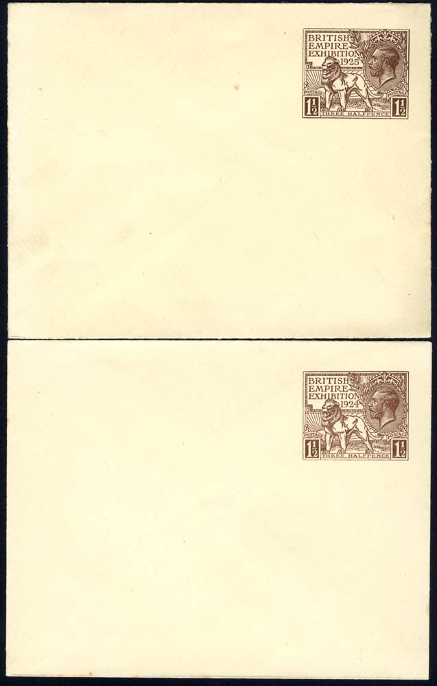 1924 & 1925 British Empire Exhibition Wembley 1½d envelope of each year, fresh unused