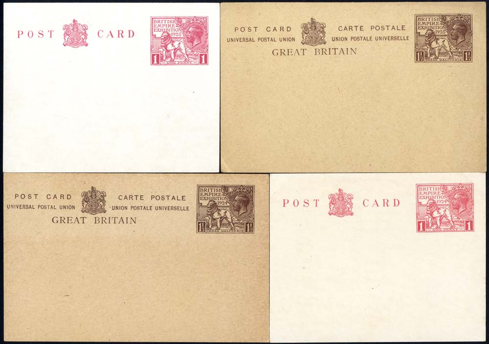 1924 & 1925 British Empire Exhibition Wembley 1d & 1½d postcards of each year, fresh unused