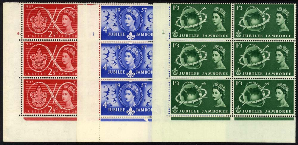 1957 Scouts Cylinder blocks of six, UM
