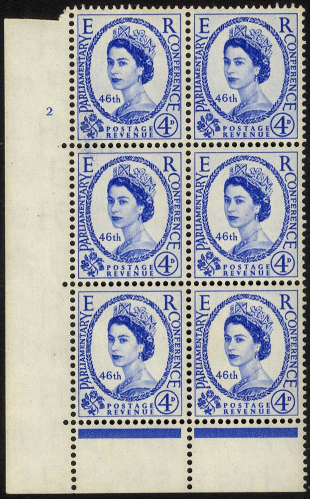 1957 Parliament 4d Cylinder block of six, UM