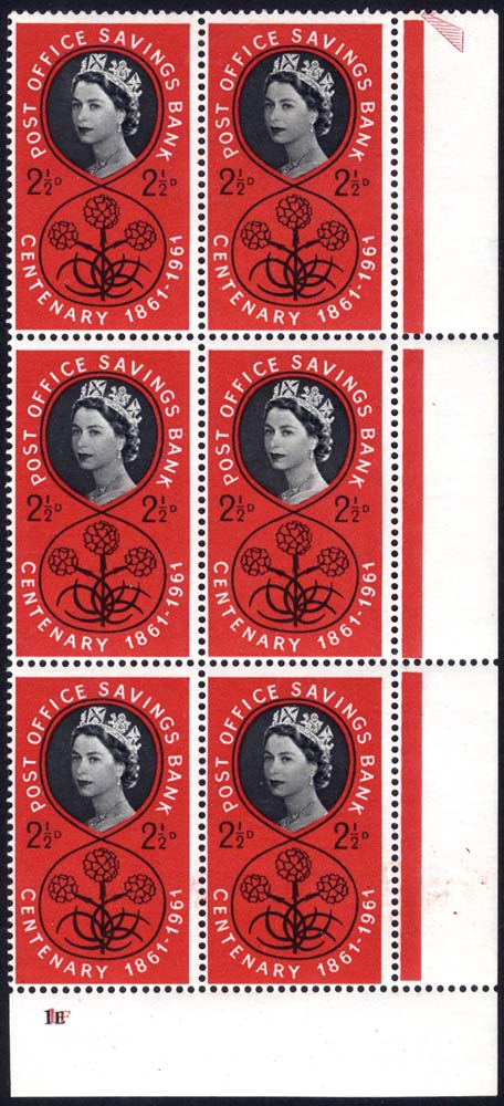 1961 P.O.S.B 2½d Cylinder block of six (IE/IF), UM
