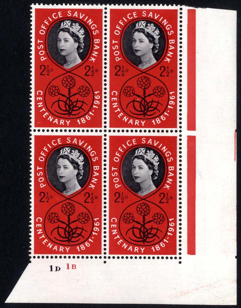 1961 P.O.S.B 2½d Cylinder block of four (ID/IB), UM
