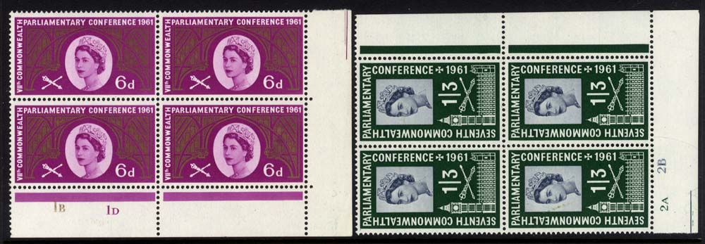 1961 Parliamentary Conference Cylinder blocks of four, UM