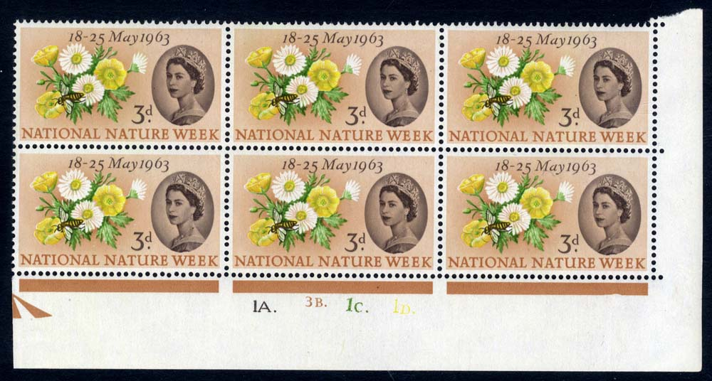 1963 Nature Cylinder block of six, UM