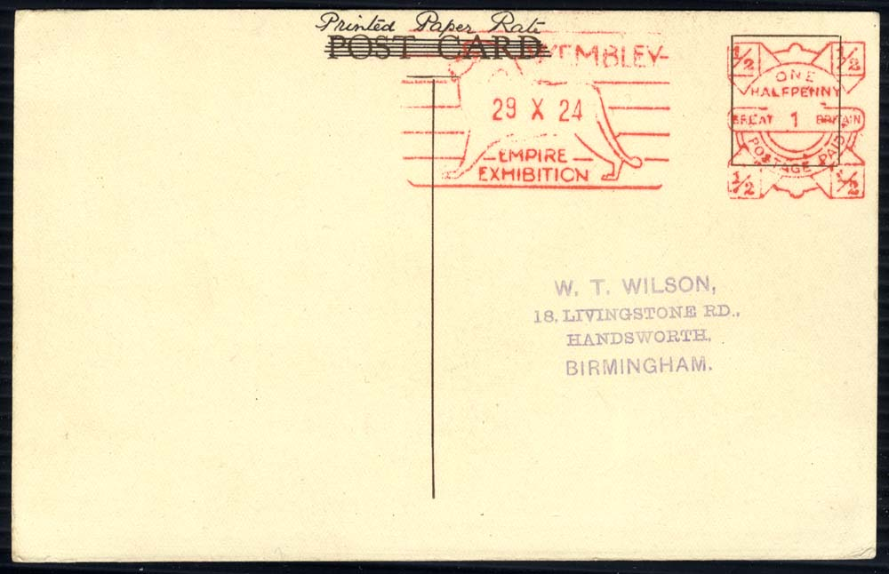 1924 Wembley Exhibition PPC showing interior of Palace of Engineering, New Zealand type meter mark