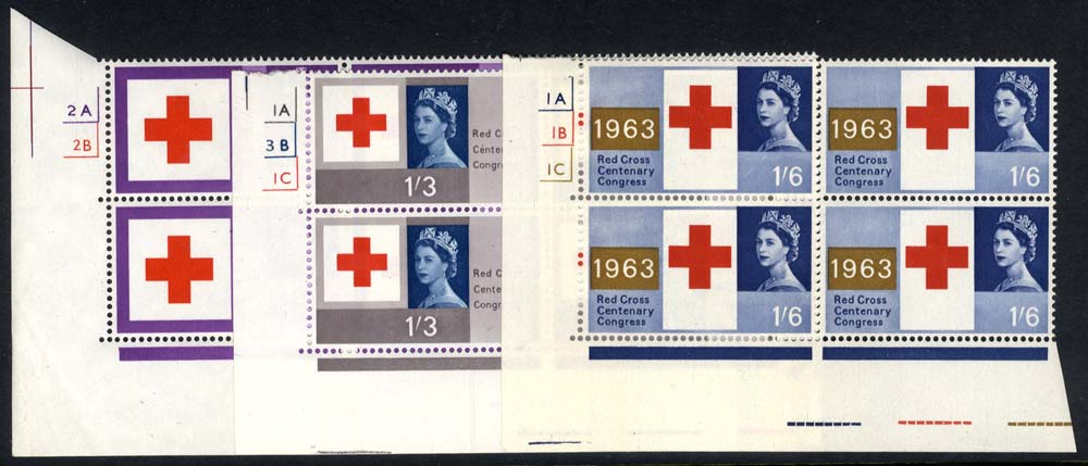 1963 Red Cross Cylinder blocks of four, UM