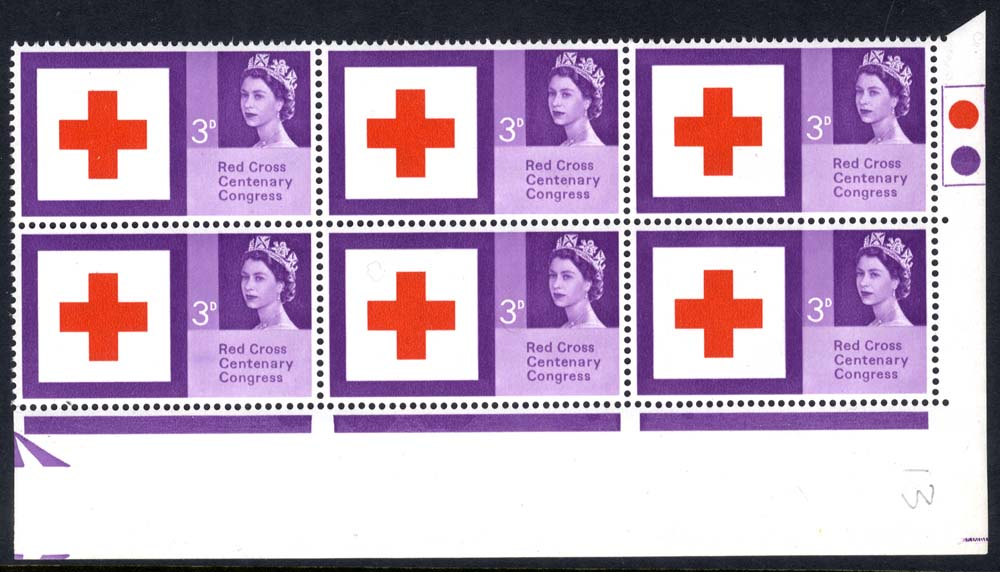 1963 Red Cross Traffic Light block of six, UM