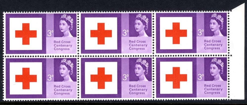 1963 Red Cross marginal block of six, variety 'Repaired Cross' UM