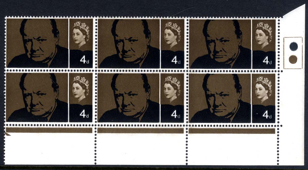 1965 Churchill Traffic Light block of six, REMBRANT PRINTING, UM
