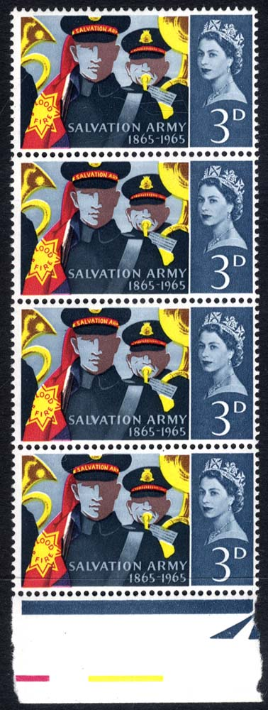 1965 Salvation Army vertical strip of four, showing variety 'Retouch V' UM