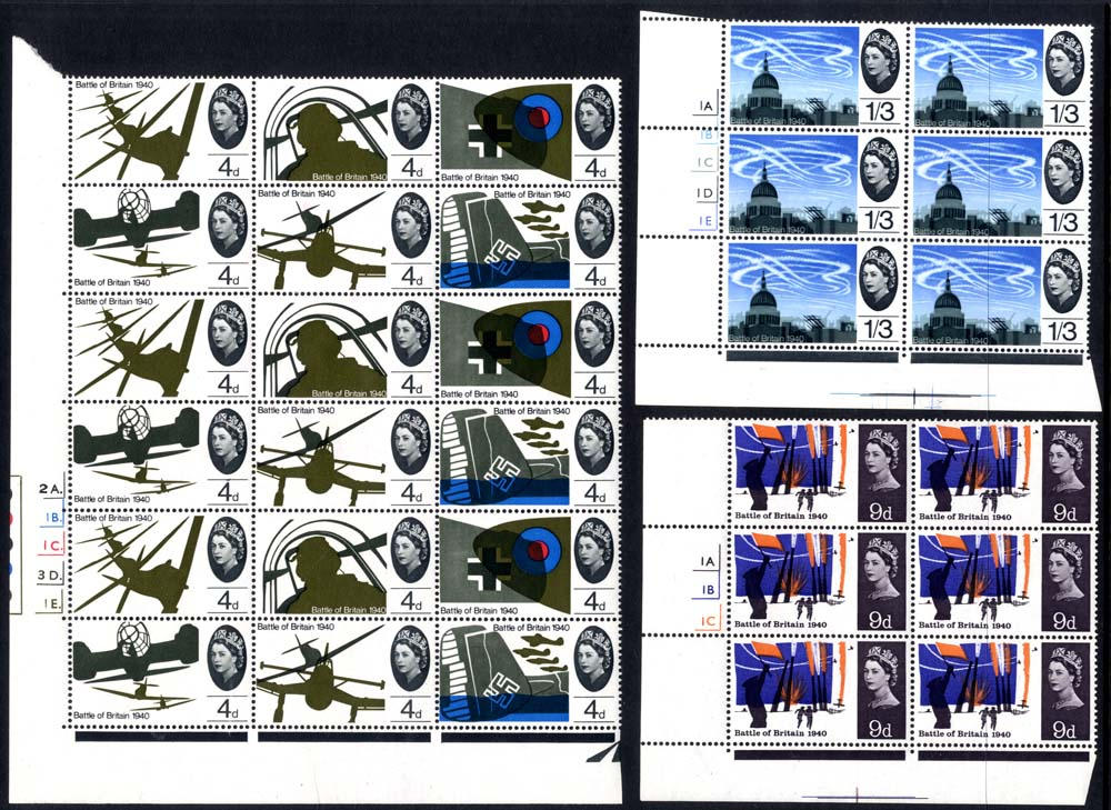 1965 Battle of Britain Cylinder blocks, (4d  with varieties), UM