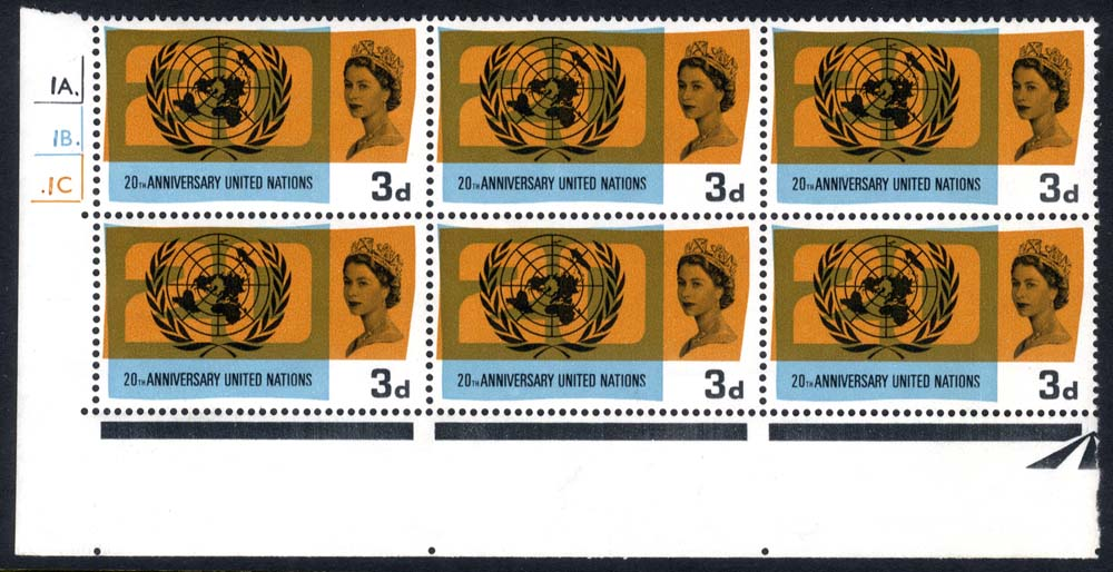 1965 United Nations Cylinder block of six, variety 'Lake in Russia' UM