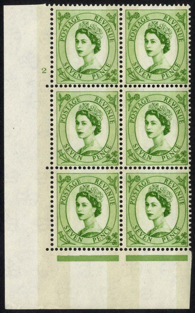 1958 Wilding 7d Crowns, violet phosphor, Perf Type A, Cyl. 2 - block of six
