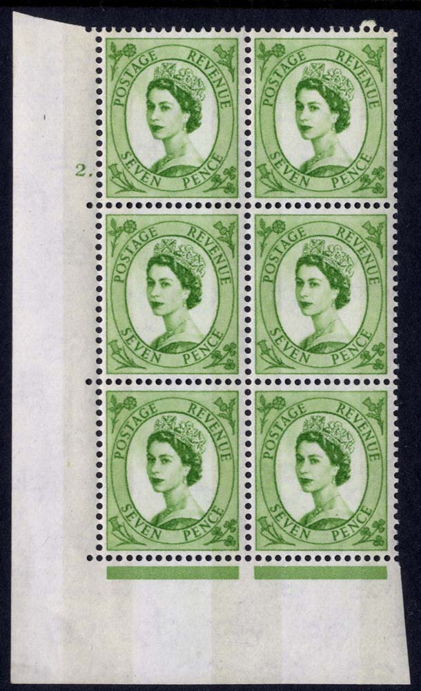 1958 Wilding 7d Crowns, violet phosphor, Perf Type A, Cyl. 2 dot - block of six