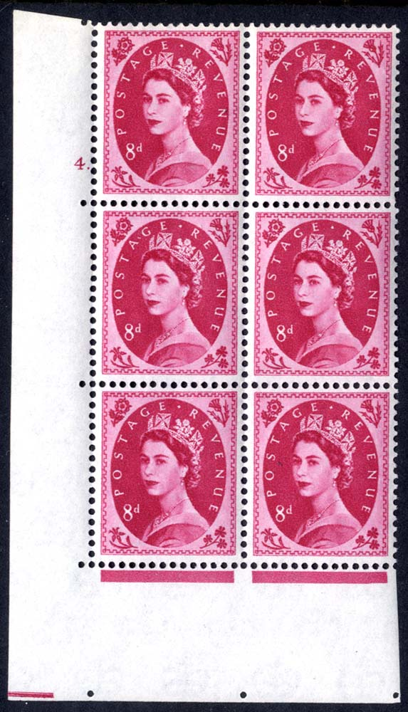 1960 Wilding 8d Crowns, white paper, Perf Type A, Cyl. 4 dot - block of six