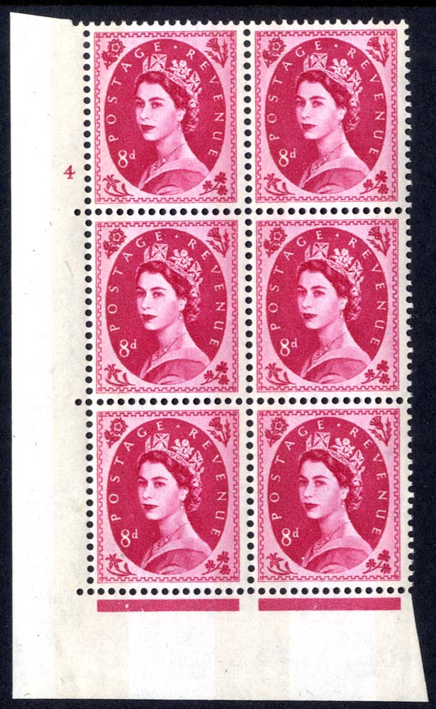 1960 Wilding 8d Crowns, violet phosphor, Perf Type A, Cyl. 4 - block of six