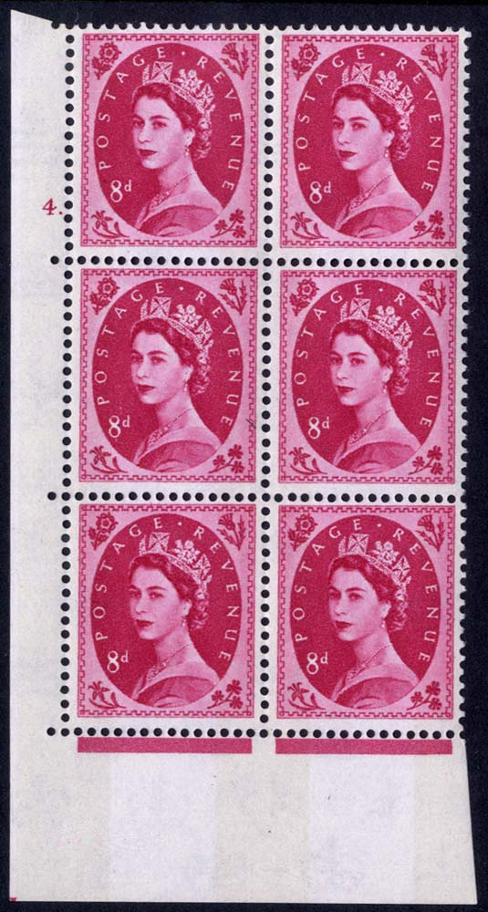 1960 Wilding 8d Crowns, violet phosphor, Perf Type A, Cyl. 4 dot - block of six