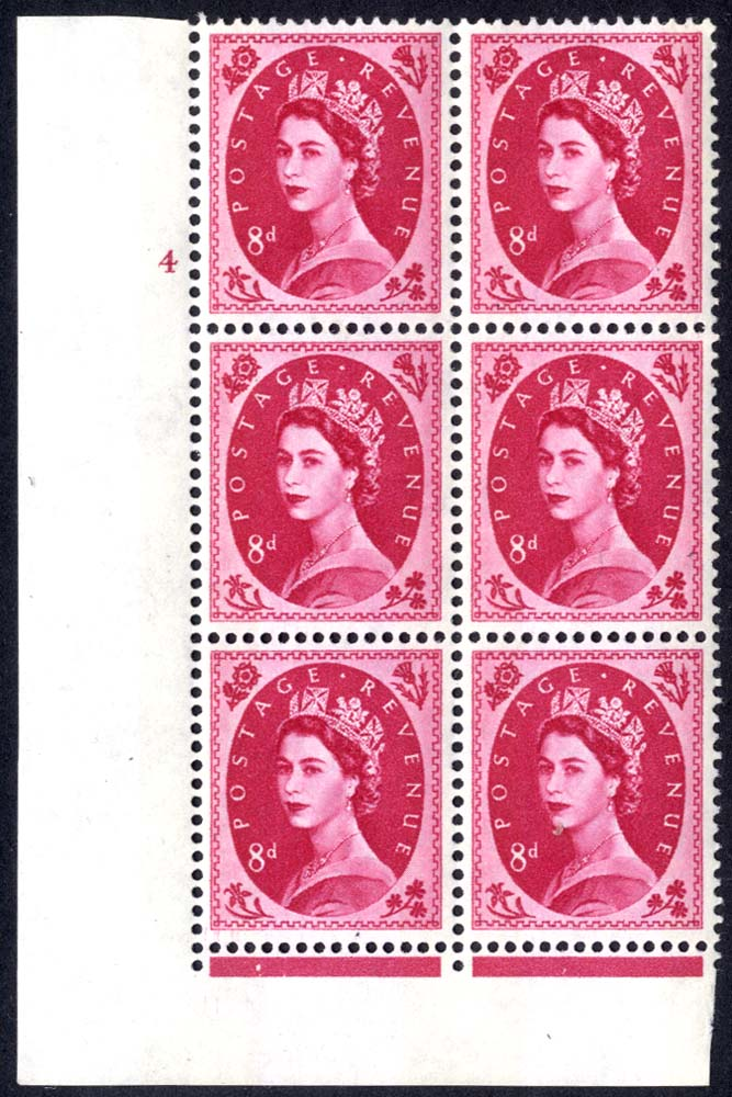 1960 Wilding 8d Crowns, violet phosphor, Perf Type F(L), Cyl. 4 - block of six