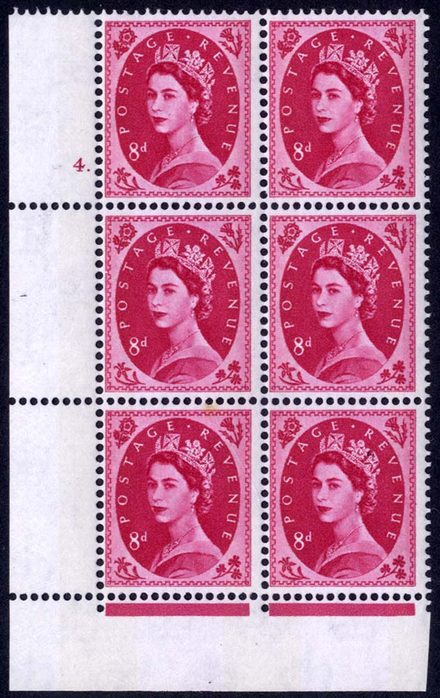 1960 Wilding 8d Crowns, violet phosphor, Perf Type F(L), Cyl. 4 dot - block of six
