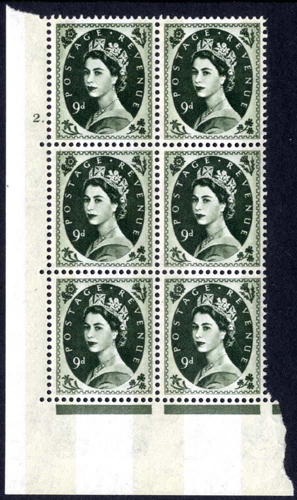 1959 Wilding 9d Crowns, violet phosphor, Perf Type A, Cyl. 2 dot - block of six