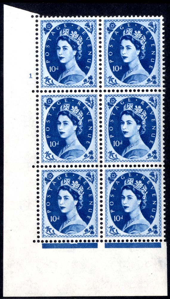 1958 Wilding 10d Crowns, white paper, Perf Type A, Cyl. 1 - block of six