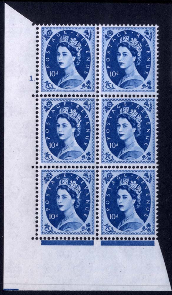 1958 Wilding 10d Crowns, white paper, Perf Type A, Cyl. 1 dot - block of six