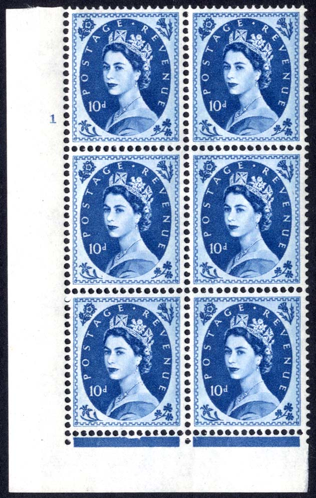 1966 Wilding 10d Crowns, violet phosphor, Perf Type F(L), Cyl. 1 - block of six