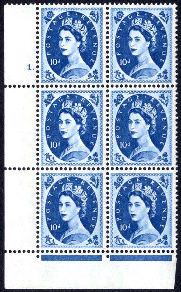 1966 Wilding 10d Crowns, violet phosphor, Perf Type F(L), Cyl. 1 dot - block of six