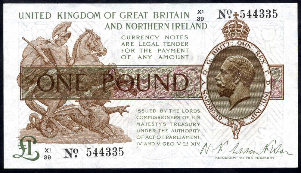 1927 Fisher £1 brown (X1/39 544335), A/UNC