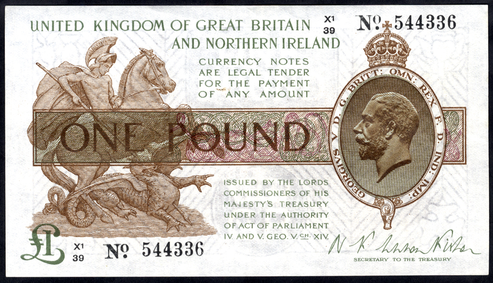1927 Fisher £1 brown (X1/39 544336), A/UNC