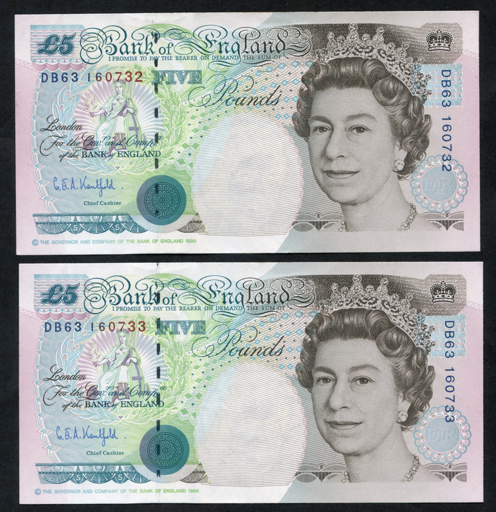 1993 Kentfield £5 Stephenson - consecutive pair (DB63 160732/3), UNC