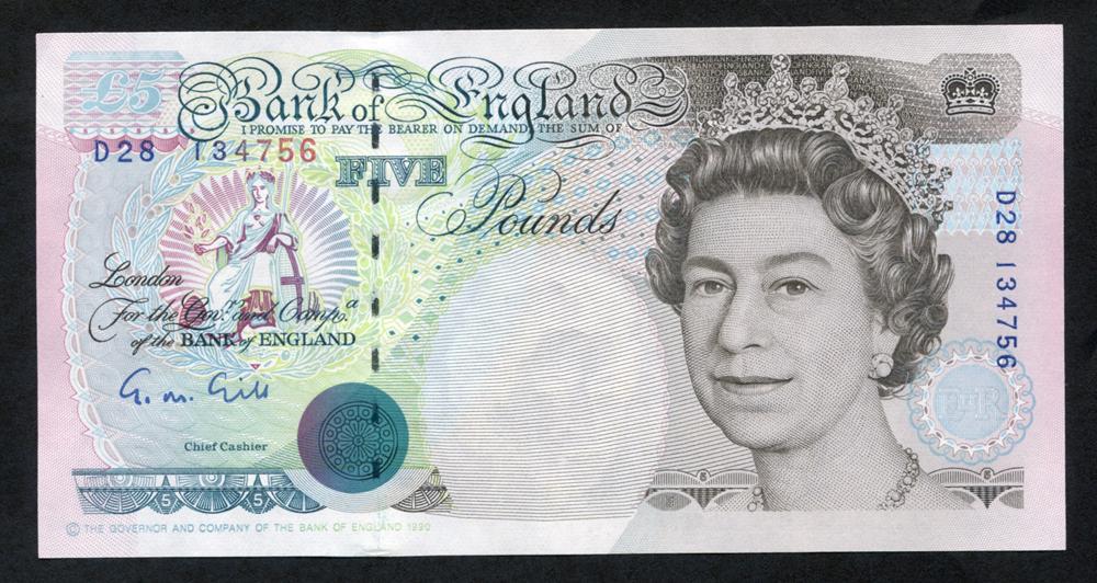 1990 Gill £5 Stephenson (D28 134756), UNC