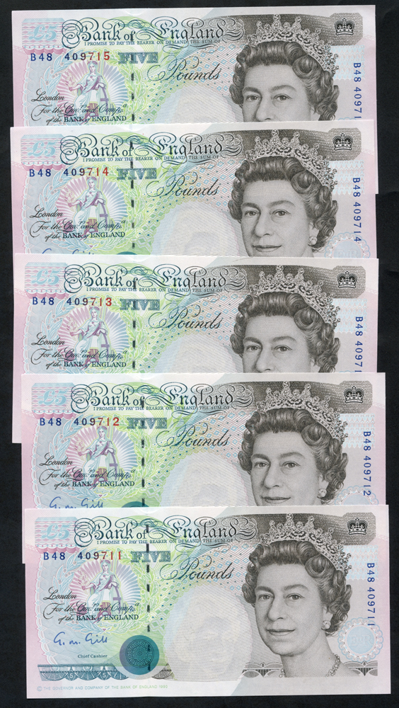 1990 Gill £5 Stephenson - consecutive run of five (B48 409711/15), UNC
