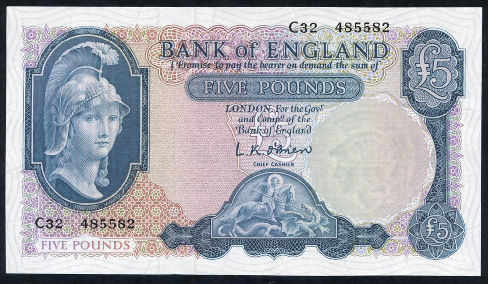 1961 O'Brien £5 Lion with Key (C32 485582), UNC