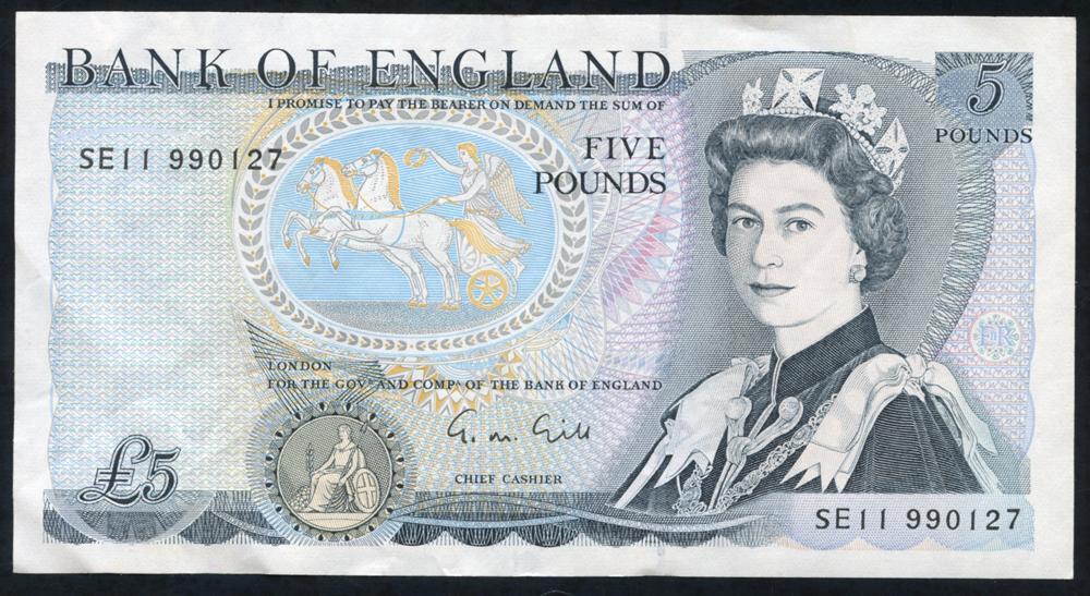 1988 Gill £5 Wellington (SE11 990127), A/UNC