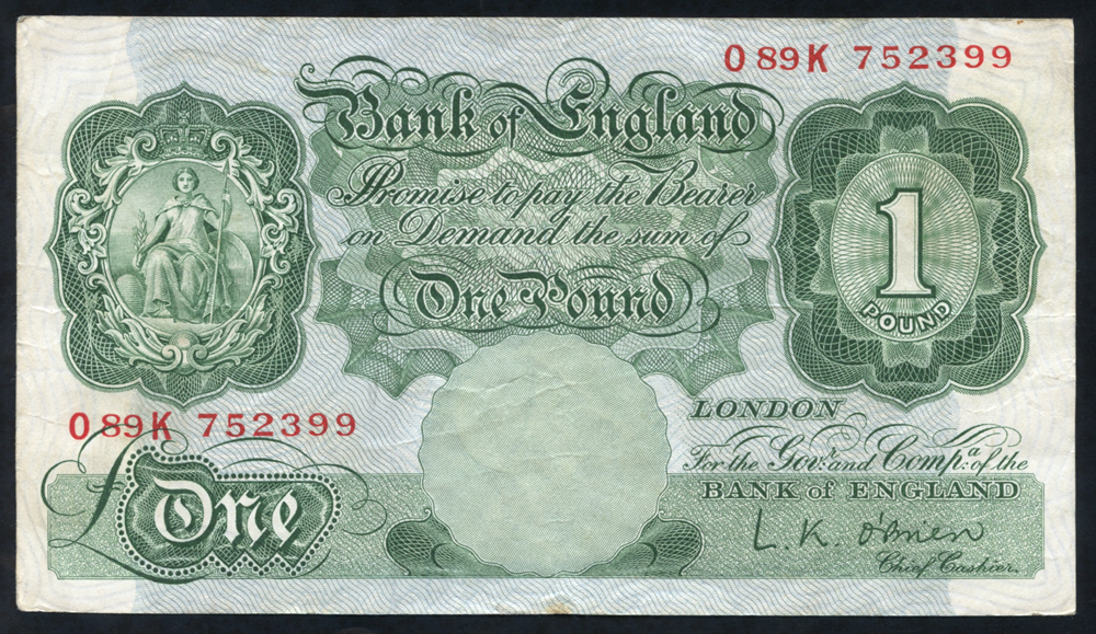 1955 O'Brien £1 green (089K 752399), VF+