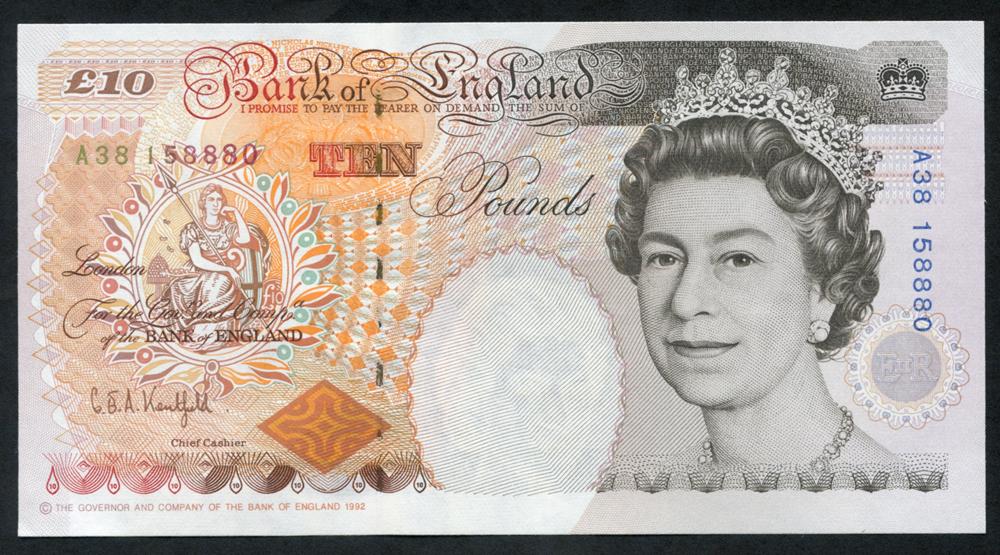 1992 Kentfield £10 Dickens (A38 158880), A/UNC