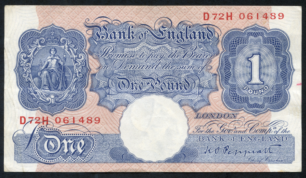 1940-48 Peppiatt £1 blue/pink (D72H 061489), VF+