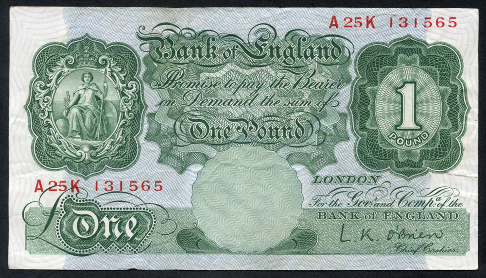 1955 O'Brien £1 green (A25K 131565), VF++