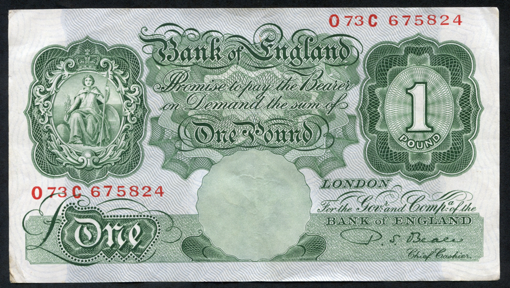 1950 Beale £1 green (073C 675824), VF+++