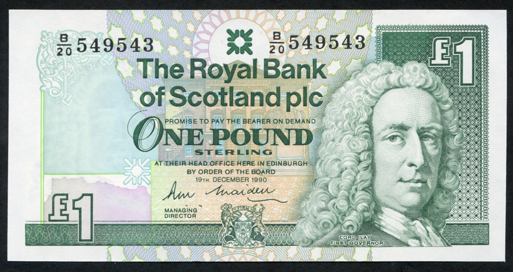 Royal Bank of Scotland 1990 R. M. Maiden £1 Lord Ilay (B/20 549543), UNC