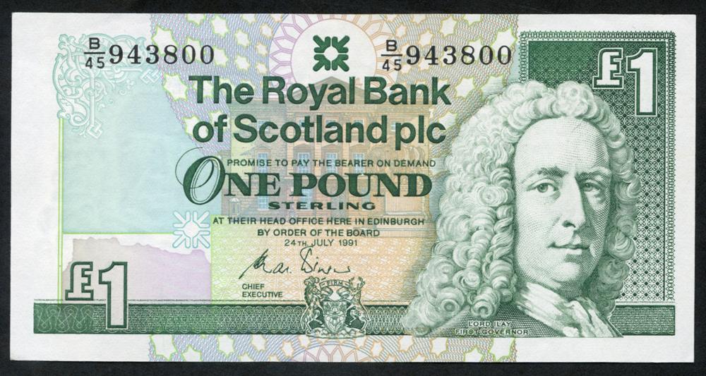 Royal Bank of Scotland 1991 Charles Winter £1 Lord Ilay (B/45 943800), UNC