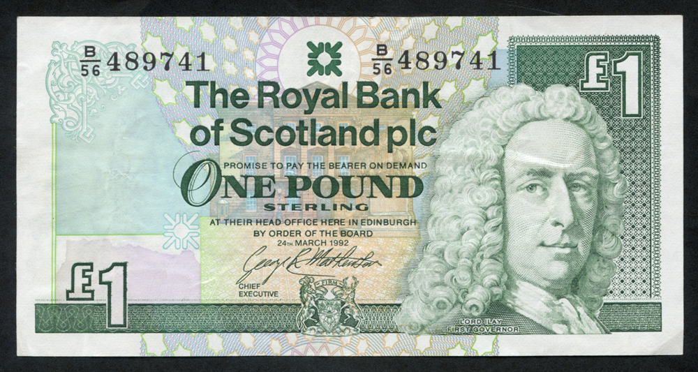 Royal Bank of Scotland 1992 George R. Mathewson £1 Lord Ilay (B/56 489741), EF